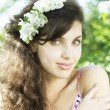 Beautiful girl was blossoming garden — Stock Photo #7615680