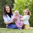 Stock Photo: Mother with two kids on the field