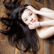 Beautiful asian girl with beautiful black hair — Stock Photo