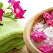 Spa therapy, flowers in water, on a bamboo mat — Stock Photo