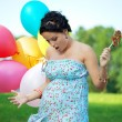 Pregnant girl surprised — Stock Photo