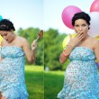 Pregnant girl surprised — Foto de Stock