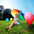 Pregnant woman rainbow umbrella — Photo