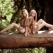 Beautiful twins in forest — Foto Stock #7616701