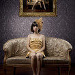 Luxurious glamorous models in gold — 图库照片 #7616956