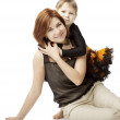 Stock Photo: Happy mother with a child on a white background
