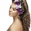 Girl with flowers in a beautiful hairstyle — Stock Photo