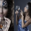 Stock Photo: Girl with makeup, with a fish in a glass in her hand