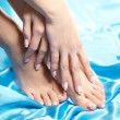 Stok fotoğraf: Beautiful manicured feet with neat pedicure