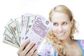 Beautiful girl with money — Stock Photo