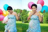 Pregnant girl surprised — Stock Photo