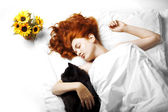 Sleeping on the bed girl — Stock Photo