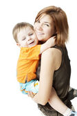 Mother with a child on a white background — Stock Photo