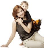 Happy mother with a child on a white background — Stock Photo