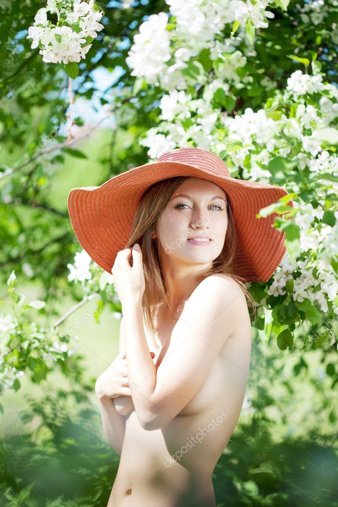 Beautiful Half Naked Woman Among Flowering Gardens Stock