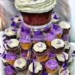 HDR Wedding Cake - Purple and White Chocolate  Cupcakes - Stock Photo
