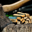 Old Axe stuck in a chopping block with splinters closeup — Stock Photo