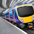 Fast Modern Passenger Train with Motion Blur — Stock Photo #7476863