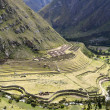 Ancient Llactapata Inca Ruins in Urubamba valley — Stock Photo