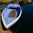 Stock Photo: Old Blue Rowing Boat on Uros Islands