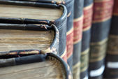 Closeup on top of old legal or law books — Stock Photo