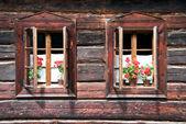Two Traditional Opened Wodden Windows with Red Flowers — Zdjęcie stockowe