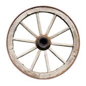 Old Traditional Wodden Wheel Isolated on White — Stock Photo