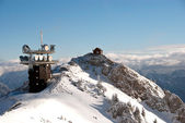 Winter Austrian Alps telecommunication and meteo station — Stock Photo