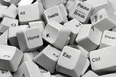 Stack of White Computer Keyboard keys — Stock Photo
