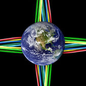 Connected world - Colored cables wired to the Earth Globe — Stock Photo