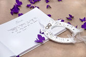 Opened Wedding Guest Book with a Good Luck Horseshoe — Stock Photo