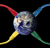Colored Network Cables connected to the Earth Globe — Stock Photo