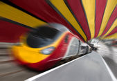 Fast Passenger Speed Train in Tunnel with Zoom Blur — Stock Photo