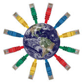 Earth's Western hemisphere with colored network cables — Stock Photo