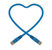 Blue Heart Shaped Ethernet Network Cable — Stock Photo