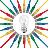 IT Solutions - Lightbulb in centre of colored network cables — Stock Photo