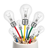 Alternative Ideas - Lightbulbs with Cables Growing in a Pot — Stock Photo