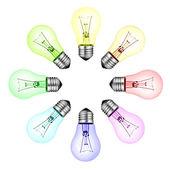 Creative New Ideas - Circle of Colored Lightbulbs Isolated — Stock Photo