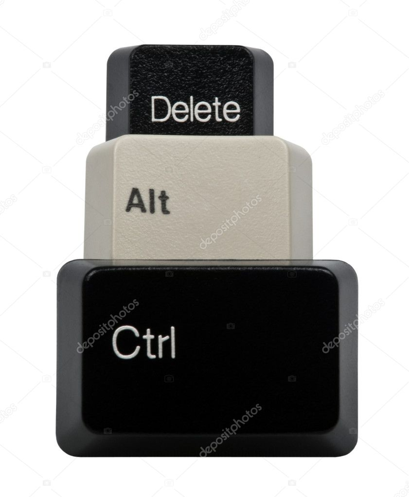 Black and White Ctrl, Alt, Del keyboard keys isolated on white background — Stock Photo #7475998