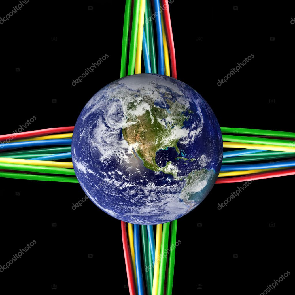 Connected world - Colored cables wired to the Earth Globe  Stock Photo #7476287
