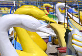 Closeup on Swan Paddle Boats — Stock Photo