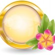Gold circle frame with pink frangipani flower — Stock Vector