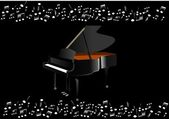 Black piano — Stock Vector