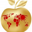 Golden apple with world map — Stock Vector