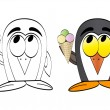 Penguin with ice cream — Stock Vector #7503652