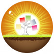 Sunshine ball with business tree — Imagen vectorial