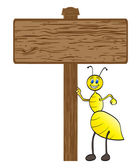 Bee with wooden banner — Stock Vector