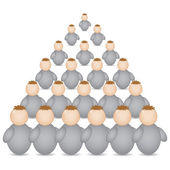 Pyramid formation made of buddys — Stock Vector