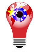 Light bulb with china flag — Stock Vector