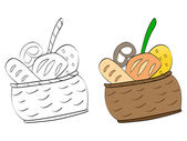 Basket with foods — Stock Vector